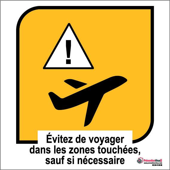 panneaux prévention virus évitez de voyager dans les zones touchées, sauf si nécessaire
