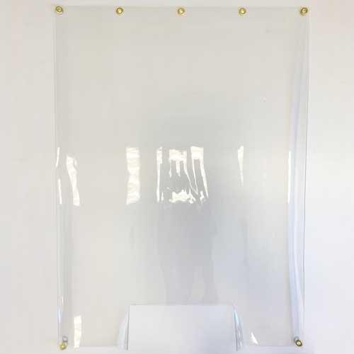 cloison en bâche transparente avec oeillets