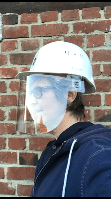 visiere casque de chantier prevention-virus