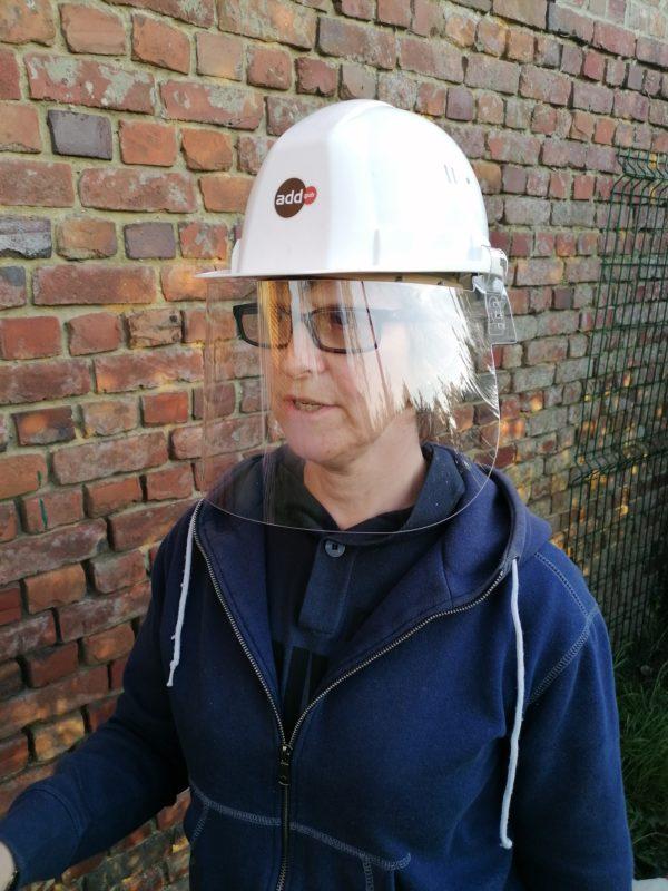 visière pour casque de chantier entreprise de bâtiment