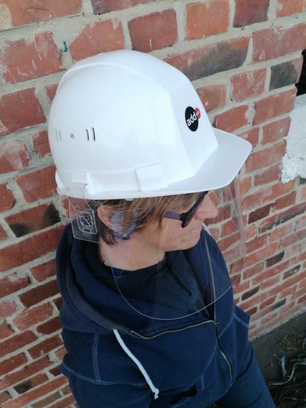 visière casque de chantier entreprise de bâtiment