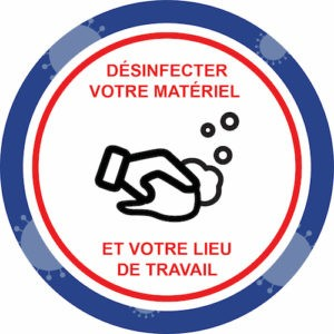 Autocollant Prévention Virus </br> Désinfecter votre matériel – Format 20 x 20 cm