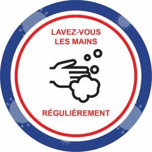 Autocollant Prévention Virus </br> Lavez-vous les mains – Format 20 x 20 cm