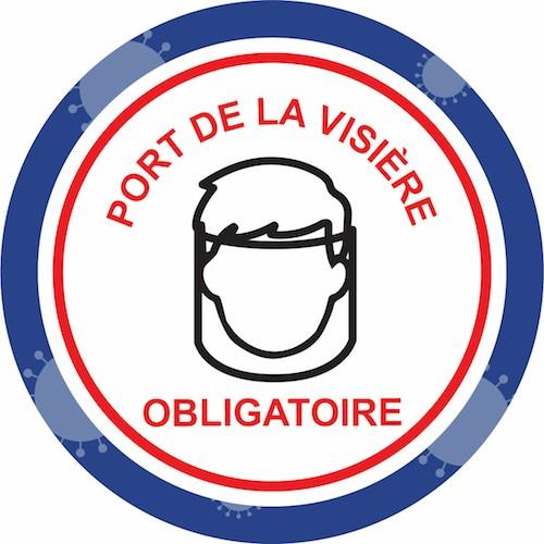 Affiche autocollante prévention virus port de la visière obligatoire