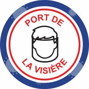 Autocollant Prévention Virus </br> Port de la visière – Format 20 x 20 cm