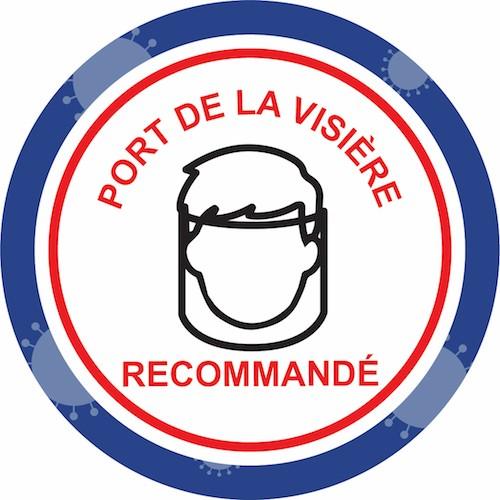 Balisage prévention virus port de la visière recommandé