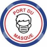 Autocollant Prévention Virus </br> Port du masque – Format 20 x 20 cm