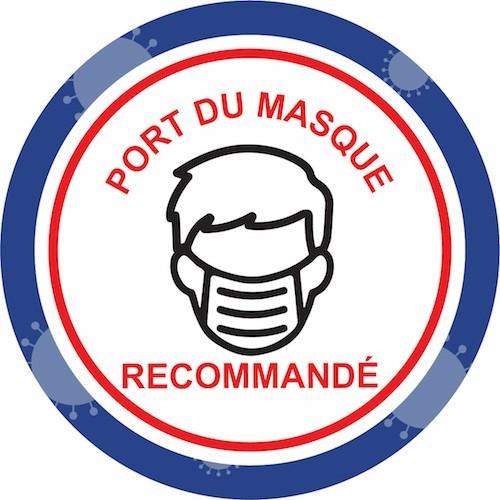 Stickers prévention virus port du masque recommandé