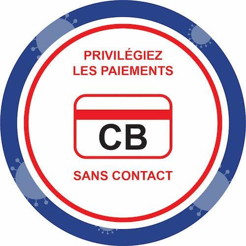 Affiche autocollante prévention virus privilégiez les paiements sans contact