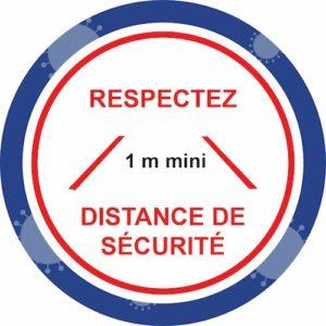Autocollant Prévention Virus </br> Respectez les distance de sécurité </br> Format 20 x 20 cm