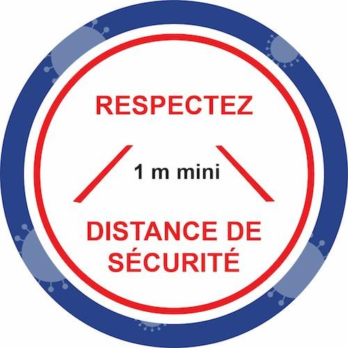marquage autocollant prévention virus respectez la distance de sécurité