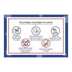 Autocollant Gestes barrières pour se protéger – Format 40 x 60 cm