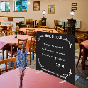 Séparation de table de restaurant en PVC avec ardoise – Format 70 x 65 cm