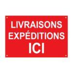"""Panneau temporaire """"livraisons expéditions ici"""" – Format : 120 x 80 cm"""