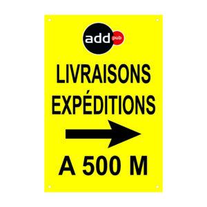 """Panneau temporaire """"livraisons expéditions ici"""" à personnaliser – Format : 120 x 80 cm"""