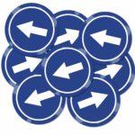 Lot de 4 ou 8 autocollants sens directionnelle – Format 20 x 20 cm
