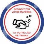 Panneau Prévention Virus </br> Désinfecter votre matériel – Format 20 x 20 cm