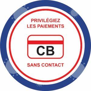 Panneau Prévention Virus </br> Paiement sans contact </br> Format 20 x 20 cm