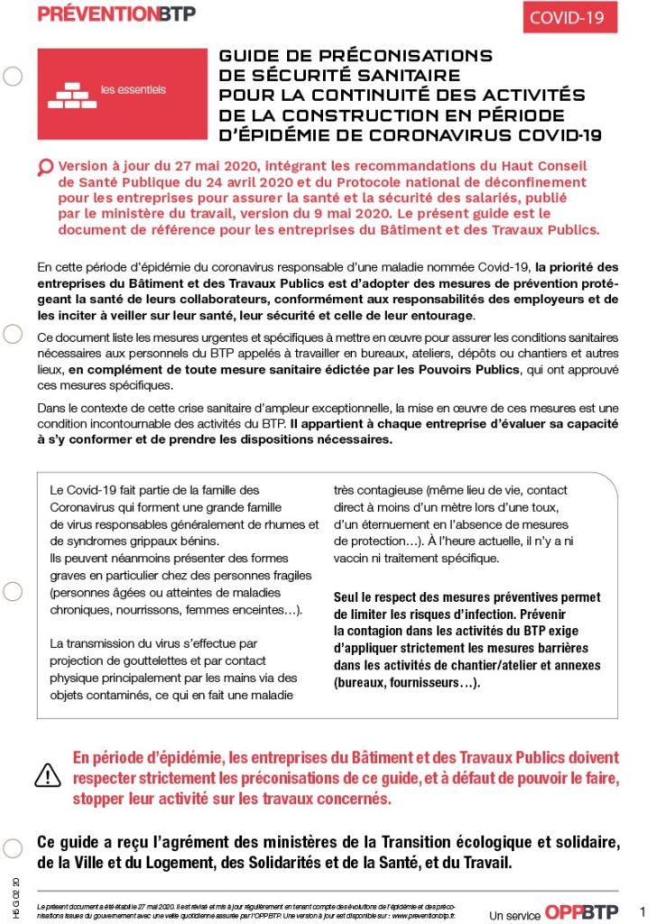 Guide des préconisations de sécurité sanitaire pour la continuité des activités de la construction en période d'épidémie de coronavirus COVID-19