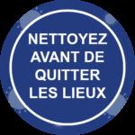 Panneau Prévention Virus </br> Nettoyer avant de quitter les lieux – Format 20 x 20 cm