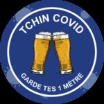 Autocollant Prévention Virus </br> Tchin Covid – Format 20 x 20 cm