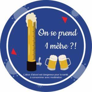Panneau Prévention Virus </br> On se prend 1 mètre de bière en girafe – Format 20 x 20 cm