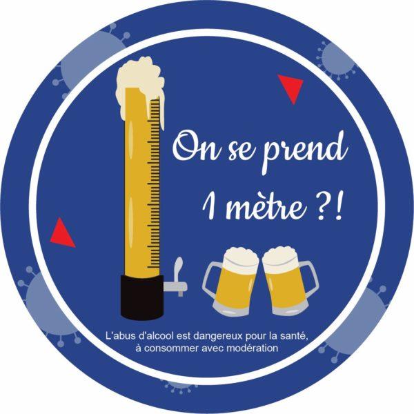Panneau Prévention Virus </br> On se prend 1 mètre de bière - Format 20 x 20 cm