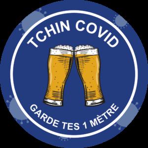 Panneau Prévention Virus </br> Tchin Covid – Format 20 x 20 cm